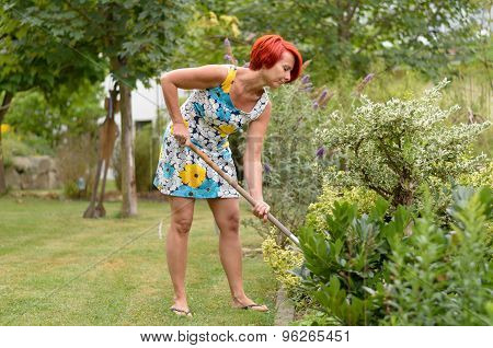 Adult Redhead Woman Raking The Flower Garden