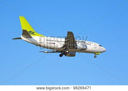 ZURICH - JULY 18: Airbus A319, Air Baltic landing in Zurich after short haul flight on July 18, 2015 in Zurich, Switzerland. Zurich airport is home for Swiss Air and one of the biggest European hubs.