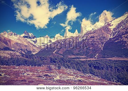 Vintage Toned Fitz Roy Mountain Range, Argentina.