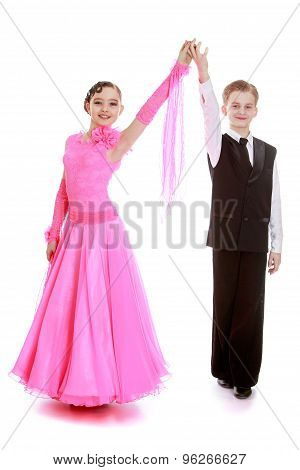 Children dancers in beautiful costumes for competitions