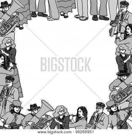 Frame border card musicians band monochrome