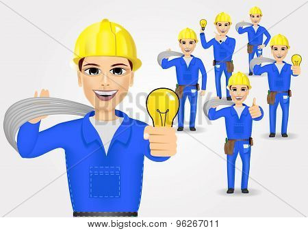 technical, electrician or mechanic in poses