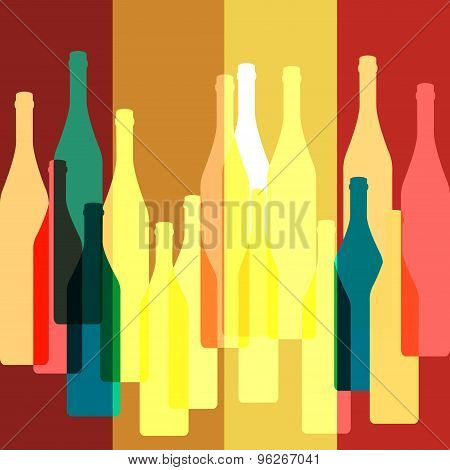 Bottles Silhouette Vector Background