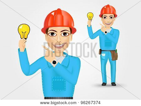 electrician or mechanic pointing to a lamp