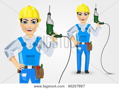 electrician or mechanic holding electric drill up