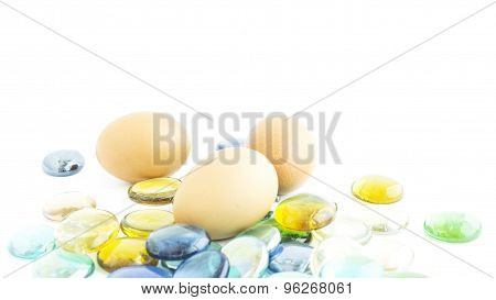 Eggs Set On Artificial Colorful Rock