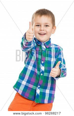 Funny little boy makes a gesture all is well