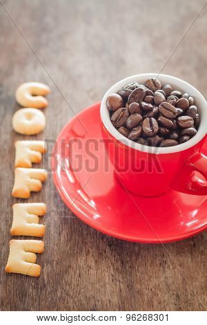 Coffee Alphabet Biscuit With Red Coffee Cup