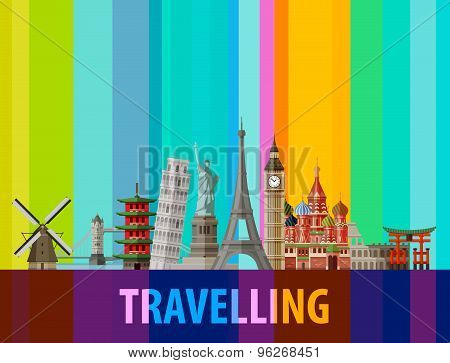 travel, journey vector logo design template. sights of the world or architecture icons