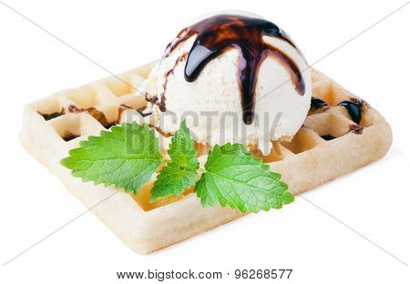 waffle with vanilla ice cream and chocolate sauce