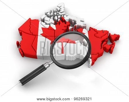 Map of Canada with loupe