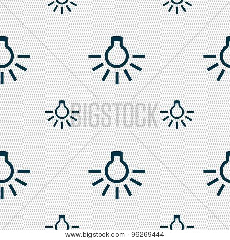 Light Bulb Icon Sign. Seamless Pattern With Geometric Texture. Vector