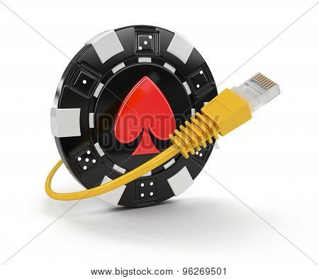 Chip of casino and Computer Cable
