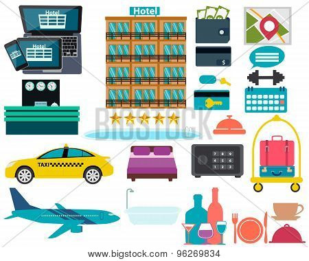 Set hotel. Reception, swimming pool and a suitcase. Vector illustration
