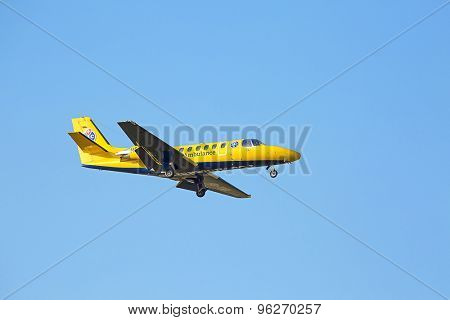 ZURICH - JULY 18: TCS Cessna C550B Citation landing in Zurich after short haul flight on July 18, 2015 in Zurich, Switzerland. Zurich airport is home port for Swiss Air and local airlines.