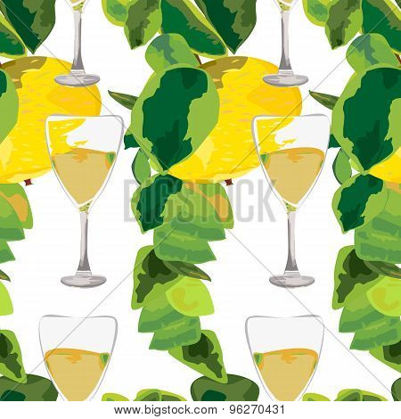 Apple Branches And Glasses Of Drink Seamless Pattern