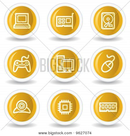 Computer Web Icons, Yellow Glossy Circle Buttons