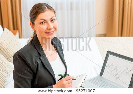 Portrait Of Happy Woman Entrepreneur On A Business Trip