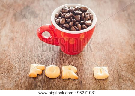 For U Alphabet Biscuit With Red Coffee Cup