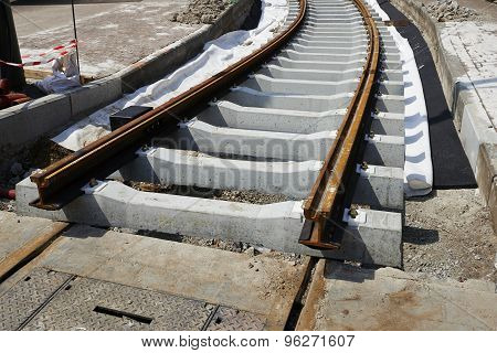 Construction Of A Tram Railroad Track In A City
