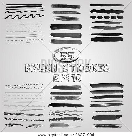 Vector set of grunge shades of grey watercolor brush strokes. Vector Illustration EPS10.