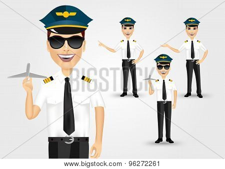 young friendly pilot with sunglasses