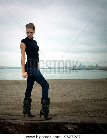 Pretty woman fashion model posing