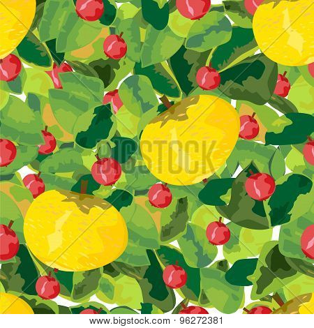 Fruits, Berries And Leaves Seamless Pattern