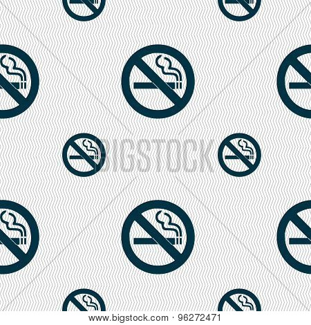 No Smoking Icon Sign. Seamless Pattern With Geometric Texture. Vector