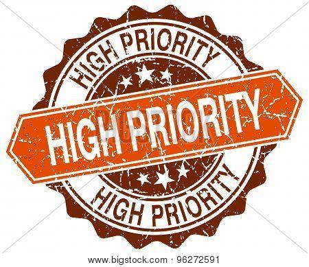 High Priority Orange Round Grunge Stamp On White