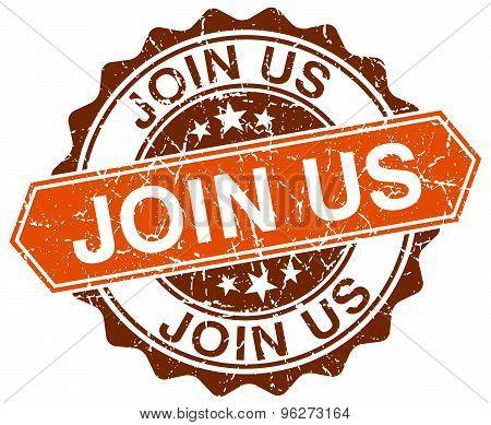 Join Us Orange Round Grunge Stamp On White