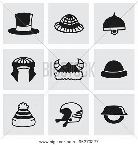 Vector helmet and hat icon set