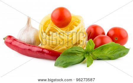 Italian Pasta Tagliatelle, Tomatoes, Garlic, Chili Pepper And Basil
