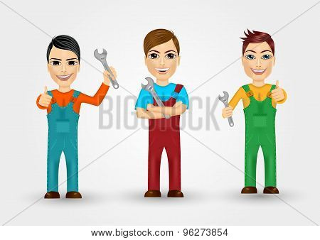 set of friendly young plumbers