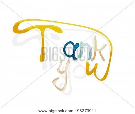 Thank you word, drawn lettering typographic design element. Hand lettering, handmade calligraphy isolated