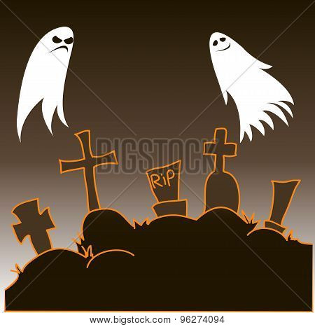 Good And Evil Ghosts Hovering In The Cemetery