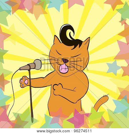 Cat Sings A Song Into The Microphone