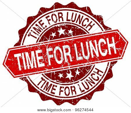 Time For Lunch Red Round Grunge Stamp On White