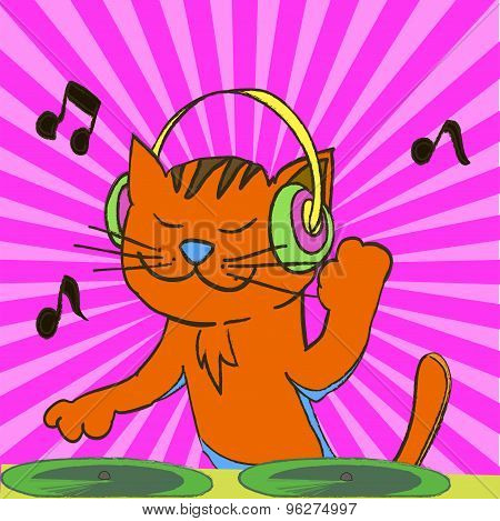 Ginger Tabby Cat Wearing Headphones Spinning Music From Records