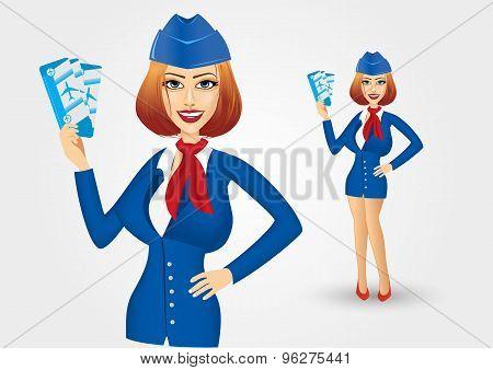 stewardess holding tickets