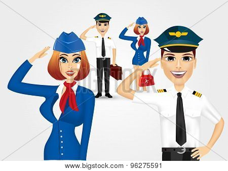 stewardess and pilot saluting