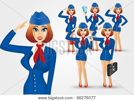 set of young beautiful stewardesses