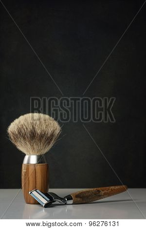 Vintage Shaving Tools On White Table And Bright Background