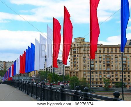 Colorful Festive Flags During A Holiday