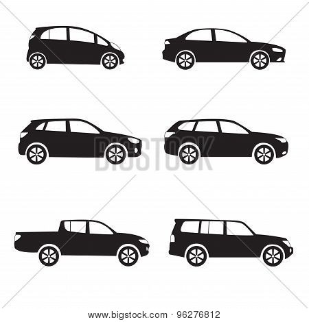 poster of Car or vehicle icon set. Different vector car form.