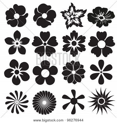 Flower icon or sign set. Vector design elements.