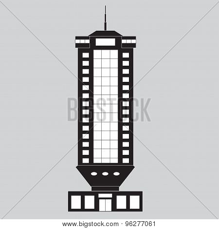 Building or Skyscraper. Black silhouette. Vector illustration.