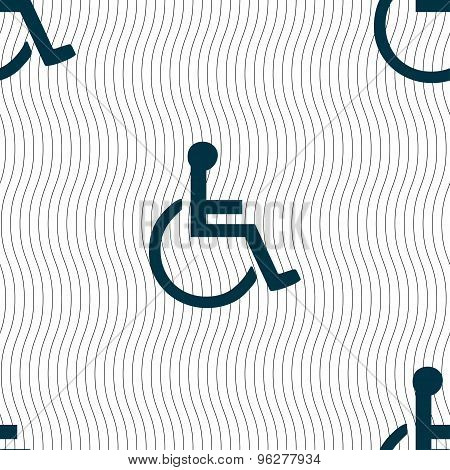 Disabled Icon Sign. Seamless Pattern With Geometric Texture. Vector