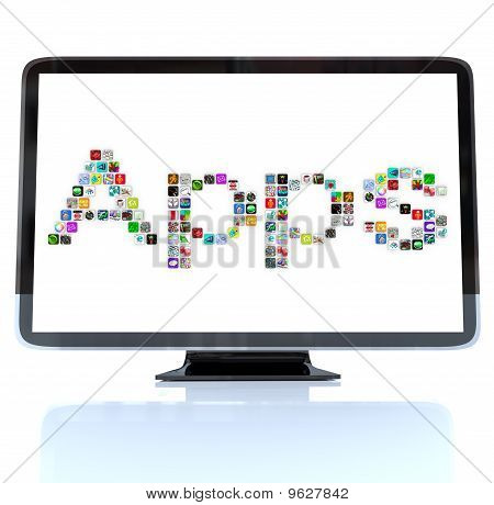 Apps Word Icons On Television Screen