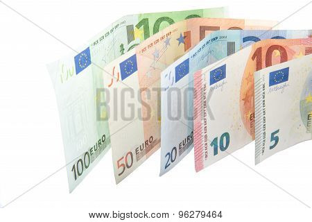 Isolated Euro banknote wave on white background